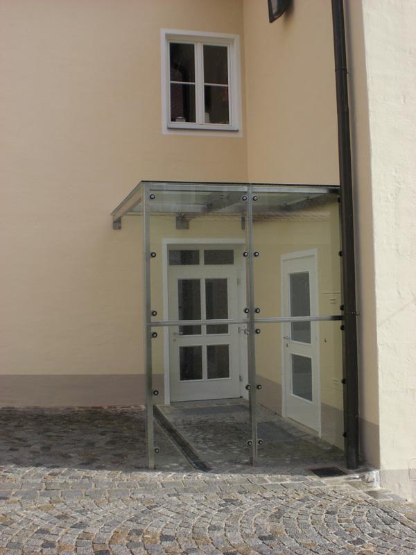 Windfang Hauseingang Glas metallbau sonnleitner carports vordächer