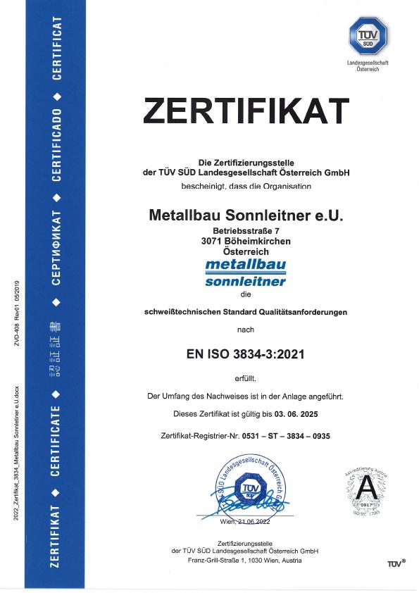 Metallbau Sonnleitner - Zertifikate